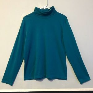 Teal blue classic turtleneck long sleeve shirt